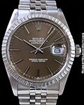 ROLEX 1603 DATEJUST CARAMEL GRAY DIAL STEEL