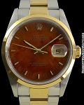 ROLEX DATEJUST 18K/STAINLESS STEEL WOOD DIAL