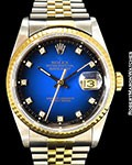 ROLEX DATEJUST 16233 VIGNETTE DIAL 18K/STEEL BOX & PAPERS