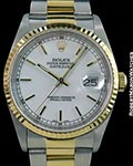ROLEX 16233 DATEJUST 18K YG & STAINLESS STEEL AUTOMATIC FLUTED BEZEL