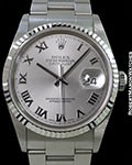 ROLEX DATEJUST 16234 RHODIUM ROMAN DIAL NEW BOX & PAPERS