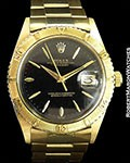 ROLEX UNPOLISHED THUNDERBIRD DATEJUST 1625 BLACK DIAL 18K BOX PAPERS 1962