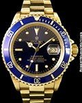 ROLEX SUBMARINER UNPOLISHED 18K 16808 BLUE NIPPLE DIAL