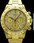 ROLEX 16528 DAYTONA AUTOMATIC 18K DIAMOND PAVE & EMERALD MARKERS