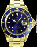 ROLEX SUBMARINER 16618 UNPOLISHED 18K BLUE DIAL