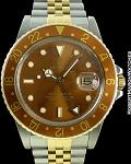ROLEX REF 16753 GMT-MASTER 18K/STEEL BRONZE DIAL CIRCA 1979