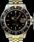 ROLEX GMT 18K / STAINLESS STEEL JUBILEE BLACK DIAL