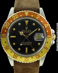 ROLEX REF 16753 GMT 2-TONE NIPPLE DIAL STRAP CIRCA 1980