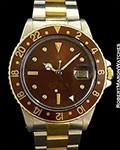 ROLEX 16753 GMT MASTER HAVANA BROWN 18K YG & SS