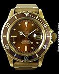 ROLEX 1680 SUBMARINER 18K COLOR CHANGE BROWN HAVANA DIAL