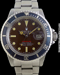 "ROLEX REF 1680 VINTAGE ""RED"" SUBMARINER TROPICAL BROWN DIAL STEEL MINT CIRCA 1968"