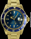 ROLEX SUBMARINER 18K 16808 BLUE DIAL NIPPLE DIAL
