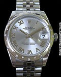 ROLEX 31MM DATEJUST 178344 STEEL/18K WHITE GOLD DIAMOND SPARKLE BOX PAPERS