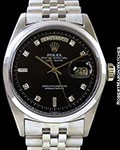 ROLEX 1802 DAY DATE PRESIDENT UNPOLISHED 18K WHITE GOLD BLACK DIAL