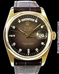 ROLEX 18028 DAY DATE PRESIDENT UNPOLISHED 18K BROWN VIGNETTE DIAL