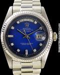 ROLEX 1803 DAY DATE WHITE GOLD PRESIDENT BRACELET BLUE ENAMEL VIGNETTE DIAL