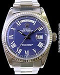 ROLEX 1803 DAY DATE PRESIDENT 18K WHITE GOLD BLUE BUCKLEY DIAL