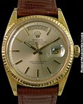 ROLEX 1803 DAY DATE PRESIDENT 18K FLORENTINE CASE ORIGINAL STRAP  w/ UNIQUE PAPERS SET