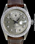 ROLEX DAY DATE PRESIDENT 1803 UNPOLISHED 18K WHITE GOLD DIAMOND BEZEL & DIAL