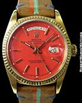 ROLEX 1803 DAY DATE PRESIDENT 18K AUTOMATIC ORANGE/RED STELLA