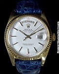 ROLEX REF 1803 VINTAGE DAY-DATE 18K WITH WHITE DIAL FEATURING RED QUARTER INDEX
