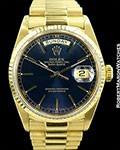 ROLEX DAY DATE 18038 18K BLUE DIAL 2013 RSC PAPERS 1987