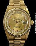 ROLEX DAY DATE PRESIDENT 18038 UNPOLISHED 18K DIAMOND RUBY MYRIAD DIAL