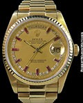 ROLEX 18038 DAY DATE BAGUETTE RUBY DIAMOND MYRIAD DIAL BOX & PAPERS