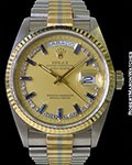ROLEX TRIDOR DAY DATE 18039B 18K SAPPHIRE MYRIAL DIAL