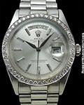 ROLEX VINTAGE PLATINUM DAY DATE 1804 DIAMOND BEZEL BAGUETTE DIAL BIG LOGO CLASP