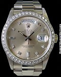 ROLEX 18049 DAY DATE PRESIDENT 18K  DIAMOND MARKERS W/ DIAMOND BEZEL AUTOMATIC