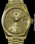 ROLEX 1811 DAY DATE PRESIDENT 18K YG DIAMOND MARKERS MORRELIS