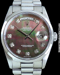 ROLEX 18206 DAY-DATE PLATINUM WITH TAHITIAN MOTHER OF PEARL DIAL