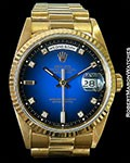 ROLEX DAY DATE 18238 18K BLUE VIGNETTE UNPOLISHED