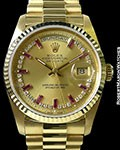 ROLEX DAY DATE 18238 18K BAGUETTE RUBY DIAMOND MYRIAD DIAL BOX & PAPERS