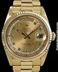 ROLEX 18238 DAY DATE PRESIDENT RARE EMERALD & DIAMOND MYRIAD DIAL BOX PAPERS