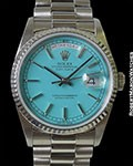 ROLEX 18239 DAY DATE PRESIDENT 18K WHITE GOLD TURQUOISE STELLA DIAL