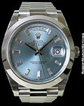 ROLEX 228206 DAY DATE PRESIDENT PLATINUM GLACIER BLUE DIAMOND MARKERS