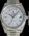 ROLEX REF 228239 DAY-DATE WHITE GOLD METEORITE DIAL BAGUETTE MARKERS NEW BOX & PAPERS