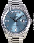 ROLEX DAY DATE 40mm PLATINUM 228396BTR DIAMOND BEZEL BAGUETTE MARKERS NEW BOX & PAPERS