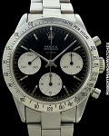 ROLEX DAYTONA 6239 DOUBLE 'T SWISS T' FLOATING 'DAYTONA' BLACK EXTREMELY RARE DIAL STEEL