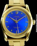 ROLEX BOMBAY 6290 BLUE ENAMEL DIAL 18K