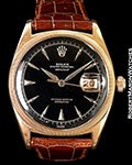 ROLEX DATEJUST 6305 OVETTONE 18K ROSE GOLD BLACK DIAL 1953