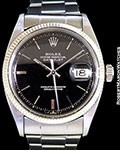 ROLEX 6605 DATEJUST BLACK GILT GLOSS DIAL 18K WHITE GOLD/STEEL