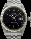 ROLEX REF 6605 DATEJUST BLACK GILT DIAL