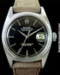 ROLEX VINTAGE DATEJUST 6605 18K WHITE GOLD BLACK GILT DIAL 1957