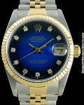 ROLEX DATEJUST MID-SIZE 68273 ENAMEL VIGNETTE DIAL 31mm 18K/STEEL NEW