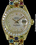 ROLEX TUTTI FRUTTI PEARLMASTER 69298 18K ONE OF A KIND ROLEX SPECIAL ORDER BRACELET DIAMOND BEZEL MOTHER OF PEARL BOX & PAPERS