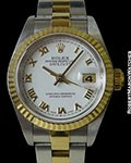 ROLEX 79173 DATEJUST 18K YG & STAINLESS FLUTED BEZEL AUTOMATIC