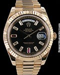 ROLEX DAY DATE II 18K ROSE 218235 41MM DIAMOND RUBY BAGUETTES